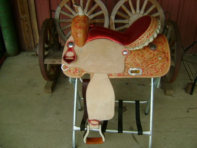 15 METALLIC RED WESTERN BARREL RACER RACING SHOW SADDLE HAND PAINTED